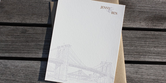 Jenny and Ben: Seaport Thank You Cards digitally printed with copper and lavender inks and paper bag envelopes.