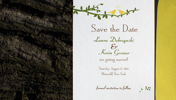 Lauren and Kevin: Gramercy Park Save the Dates digitally printed with chocolate, squash, and willow inks.