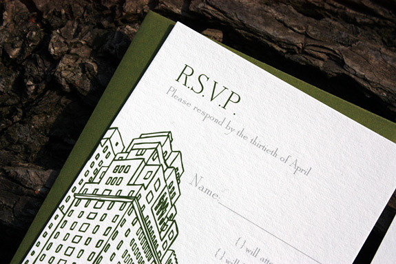 Ben and Drew: San Remo RSVP digitally printed with moss and pewter inks.