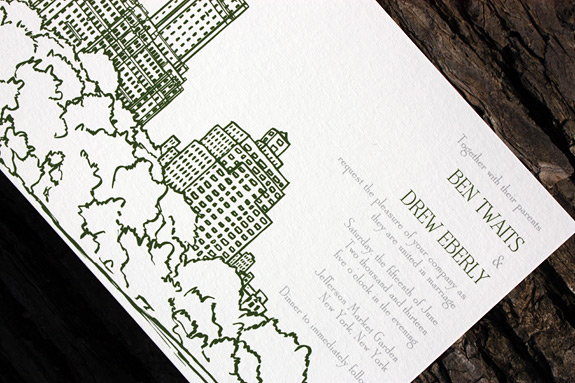 Ben and Drew: San Remo Invitation digitally printed with moss and pewter inks.