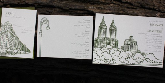Ben and Drew: San Remo Invitation Suite digitally printed with moss and pewter inks.