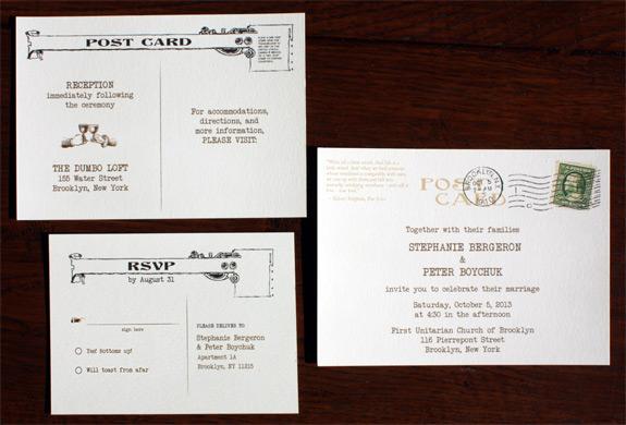 Stephanie and Peter: Brooklyn postcard wedding invitation suite - invitation side