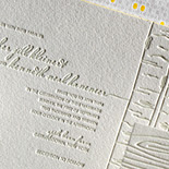 Heather and Kenneth: letterpressed wedding invitation with tree and wood motifs, yellow edging and patterned liner. Perfect for an outdoor wedding or a barn wedding.