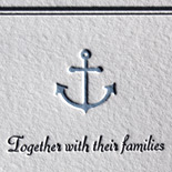 Rebecca and Scott: Nautical theme wedding invitation suite complete with knotted rope and anchor, letterpress printed