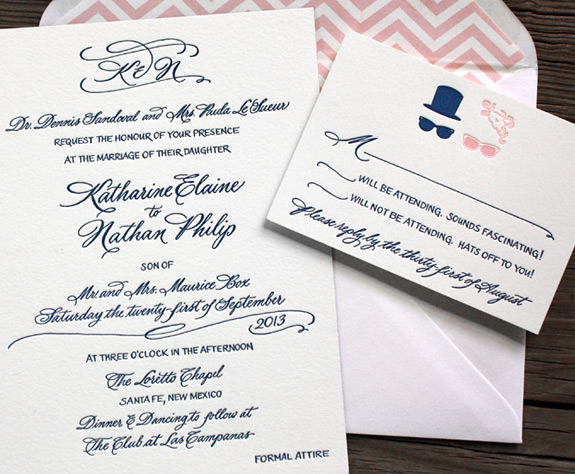 Katharine and Nathan: hand illustrated and calligraphed wedding invitation, letterpressed on double thick paper with pink chevron liner