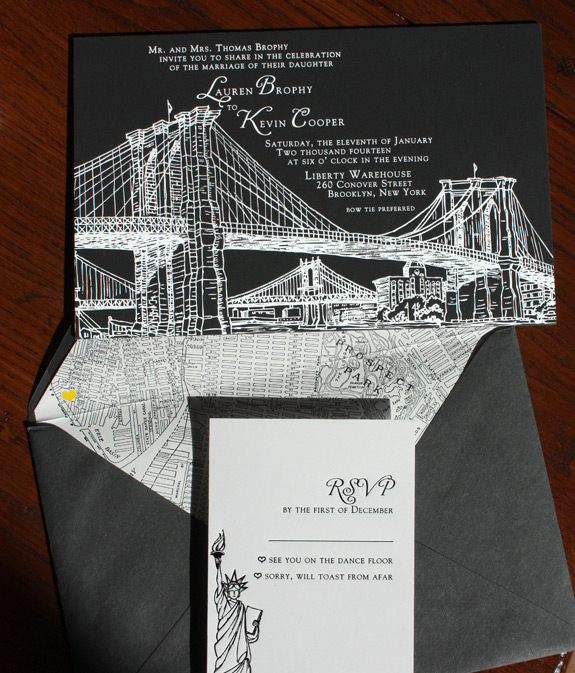 Lauren and Kevin: NYC in black and white!  White foil Brooklyn Bridge (the Seaport suite from PostScript Brooklyn) on black museum board, a black ink letterpressed Statue of Liberty on white stock and a black and white map of Park Slope with a sweet yellow heart for a pop of color.