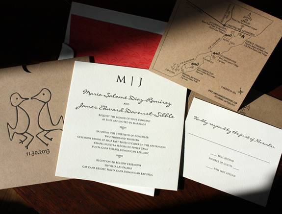Maria and James: Dominican Republic destination wedding invitation with custom bird art on pocket, with map card on jute paper, and textile inspired liner