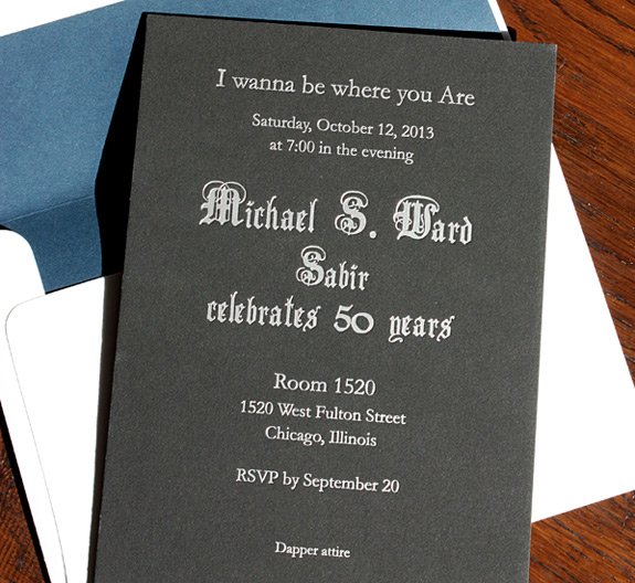 Michael: 50th birthday invitation on black museum board with silver foil