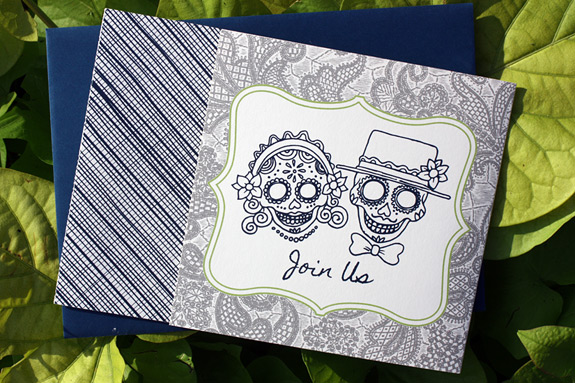 Michelle and Cris: digitally printed Mexican Riviera wedding invitation featuring Day of the Dead couple
