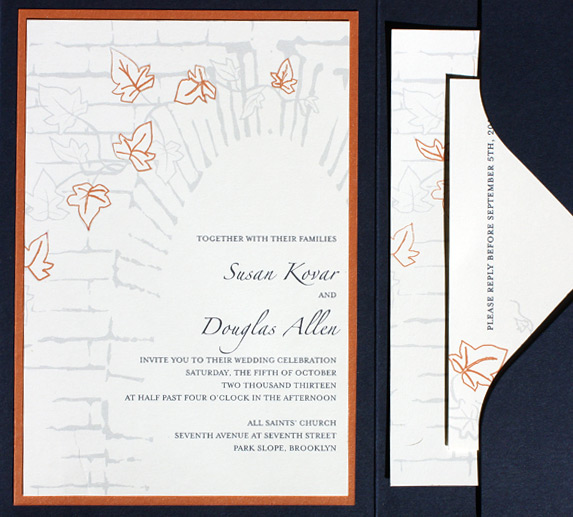 Susan and Douglas: Foundry from PostScript Brooklyn, custom printed as pocket folder invitation with layers and monogram closure