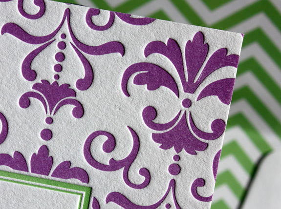 Hanna: 3 color letterpress Bat Mitzvah invitation chevron liner