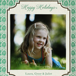 Laura and family: emerald letterpress holiday card on 2 ply card bamboo card stock with foil