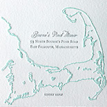 Veronica and Gregory: Massachusetts wedding invitation featuring outline of state, 2 color letterpress