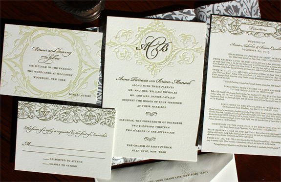 Anne and Brian: 2 color letterpressed invitation with lovely use of olive ink on pearl white paper