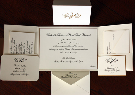 Gabriella and David: custom gatefold,  ivory linen paper, metallic ink with 2 ply gold leaf backer, two pockets with layered tag and gold foil