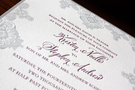 Kristen and Stephen: 2 color letterpressed invitation with silver backer