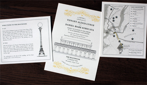 Tiffany and Daniel: Prospect Park Boathouse wedding invitation featuring custom illustrations and map with carefully chosen pizza recommendations