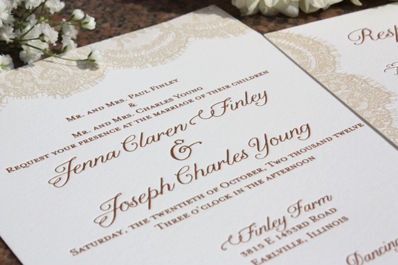 Jenna and Joseph: Sutton Place, letterpress printed in beige and copper on soft white paper