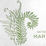 Alli and Steve: trifold, one color letterpress custom wedding invite featuring fern, snail and beetle and perforated reply postcard