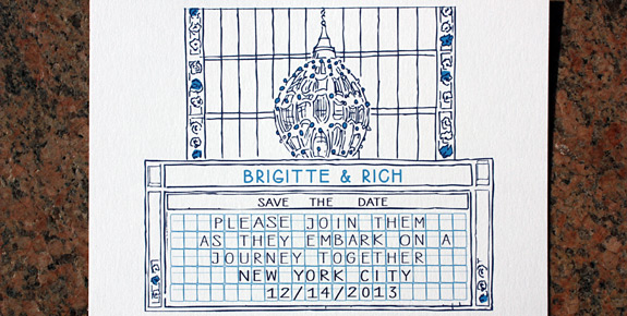 Brigitte and Rich: a great wintry color combo on this save the date postcard of the Grand Central suite from PostScript Brooklyn