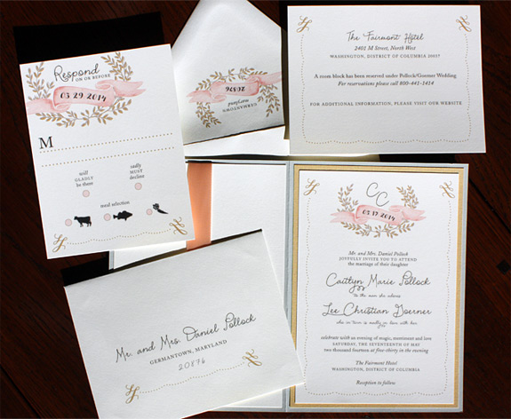 Caitlyn and Christian: elegance meets folksy charm in this collection featuring a ribbon pocket, lovely banner and wreath illustrations, calligraphic motif, and gentle pastel palette