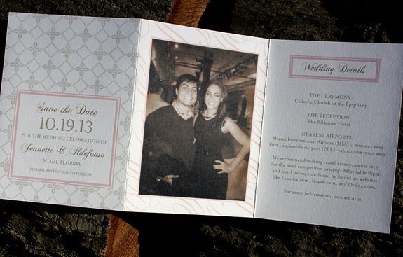 Jeanette and Adefonso: dual language save the date with photo, digitally printed