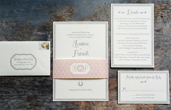 Justine and Patrick: letterpress wedding invitation suite with belly band featuring custom Mini Cooper logo.  Photographer: Elisabeth Millay