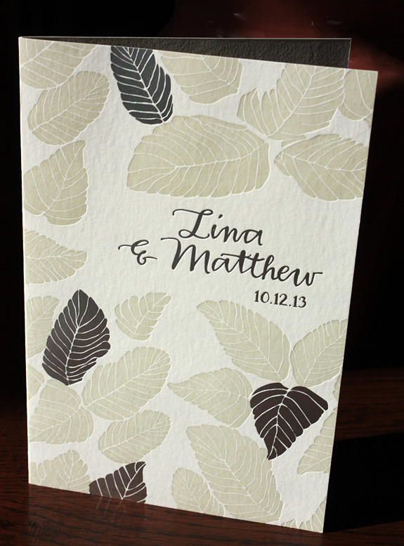 Lina and Matthew: wedding program with fall leaves letterpressed in two colors, wonderfully autumnal