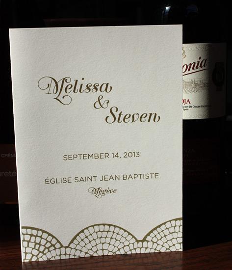 Melissa and Steven: elegant, digitally printed program in gold ink