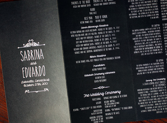 "Sabrina and Eduardo: custom hand caligraphed ""chalkboard"" style wedding program"