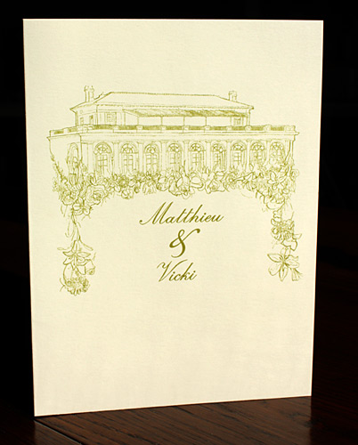 Matthieu and Vicki: gold thermography on ecru card stock featuring custom illustration of Park Slope Boathouse
