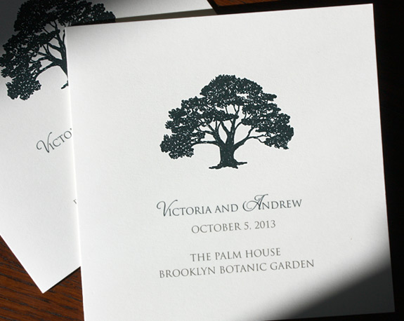 Victoria and Andrew: this bold silhouette of a noble tree is perfectly suited for a wedding at the Palm House in the Brooklyn Botanic Garden