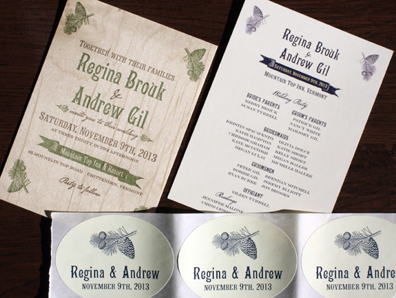 Regina and Andrew: Washington Square invitation, program, stickers