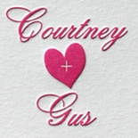 Courtney and Gus: sweet magenta hearts with gold foil make for a lovely rehearsal dinner invitation