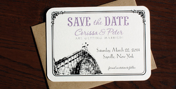 Coney Island Avenue: Corissa and Peter, custom save the date with photo of couple at famous Nathan's and rounded corners