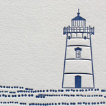 Emily and Charles: folio pocket fold invitation suite featuring lighthouse illustration