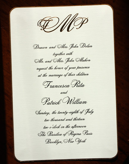 Francesca and Patrick: wedding invitation featuring a gold ink monogram