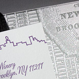 Ariana and Jude: this wonderfully designed Brooklyn Winery wedding invitation features a pocket fold, letterpress skylines (courtesy of PostScript Brooklyn) and the intricate details of a vintage Brooklyn map