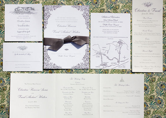 Chrstine and Frank: beautiful floral engraved and letterpressed design in thistle and silver with custom illustrated map and satin bow detail