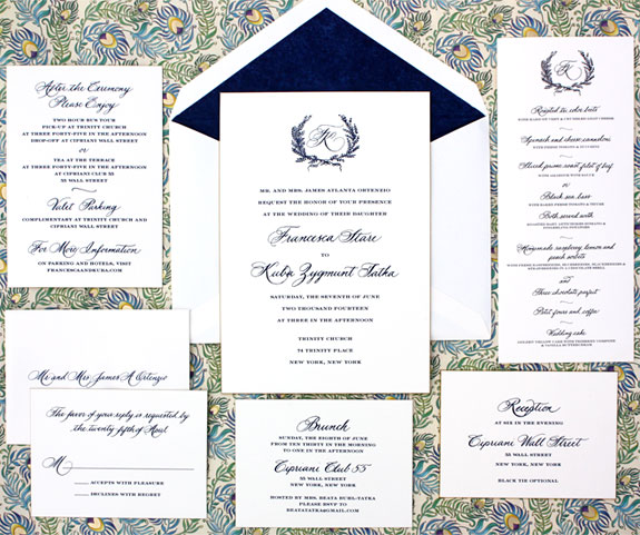 Francesca and Kuba: this stunning wedding invitation features custom calligraphy accents engraved on duplex card stock with gold beveled edge
