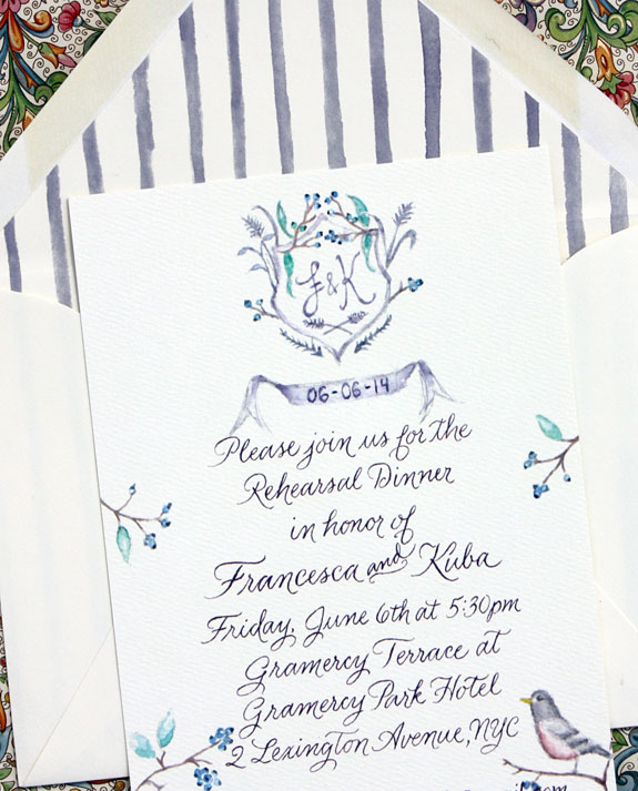 Francesca and Kuba: rehearsal dinner invitation, hand painted watercolor by bride, digitally printed with custom liner