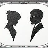 Elizabeth and Joshua: custom design by groom, letterpressed on cotton paper with specially sized gatefold, letterpressed metallic paper belly band, art deco silhouette with matching day of components, digitally printed