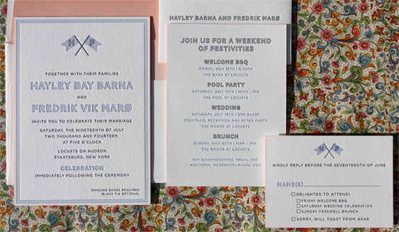 Hayley and Fredrik: letterpress wedding invitation on cotton paper with coral edging and hombre liner