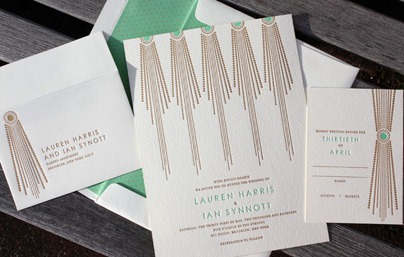 Lauren and Ian: Art Deco Suite, Stunning two color letterpress invitation featuring emerald green and gold in a fun art deco pattern