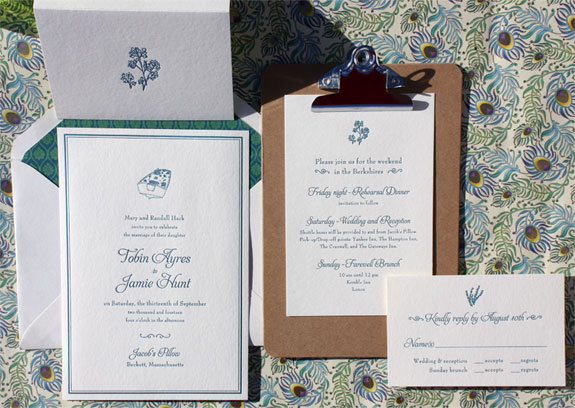 Tobin and Jamie: a lovely summer letterpress wedding invitation with custom illustrations of a rowboat and herbs in prussian blue and a blue and green calico pattern envelope liner