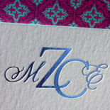 Mariana: letterpress Bat Mitzvah invitation with custom monogram foil stamped and matching liner