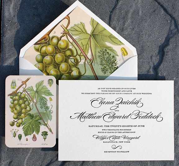 This beautiful grapevine illustration was used for the save the date and became a stunning liner with this elegant letterpress invitation.