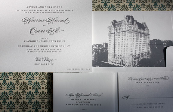 Aparna and Omar: This classic letterpress wedding invitation was made complete by this custom liner of the The Plaza.