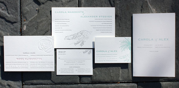 Carola and Alexander: Italy inspired wedding suite illustrated by one of our in-house designers.  Letterpressed in pewter, rose and turquoise. Shown with a baptism invitation featuring a blind pressed rose and text in pewter and rose.
