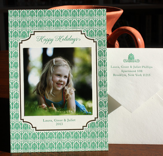 Phillips: This stunning photo holiday card  is letterpressed with a gold foil border and gold edging